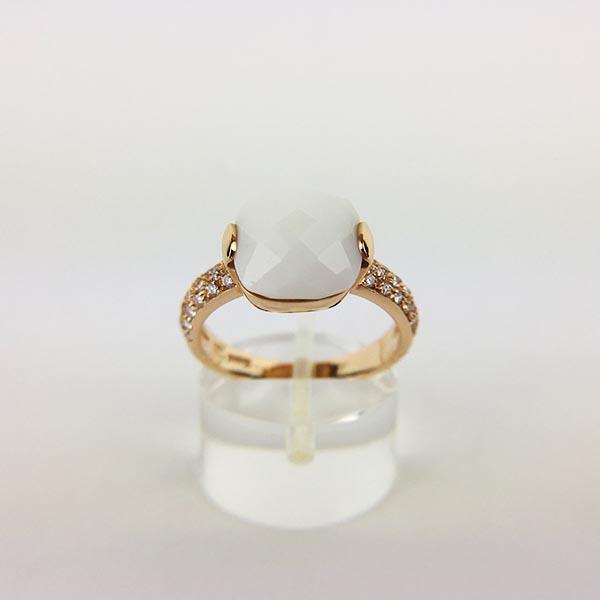 Anello Oro Rosa, Diamanti e Agata