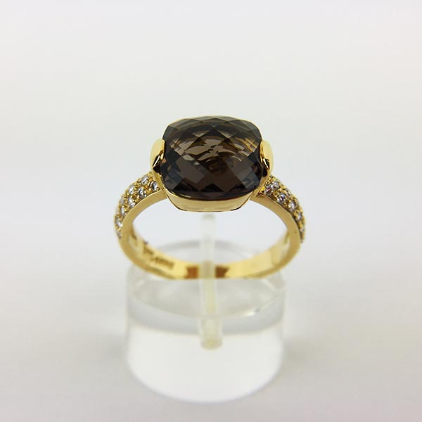 Anello Oro Giallo, Diamanti e Quarzo Fumè