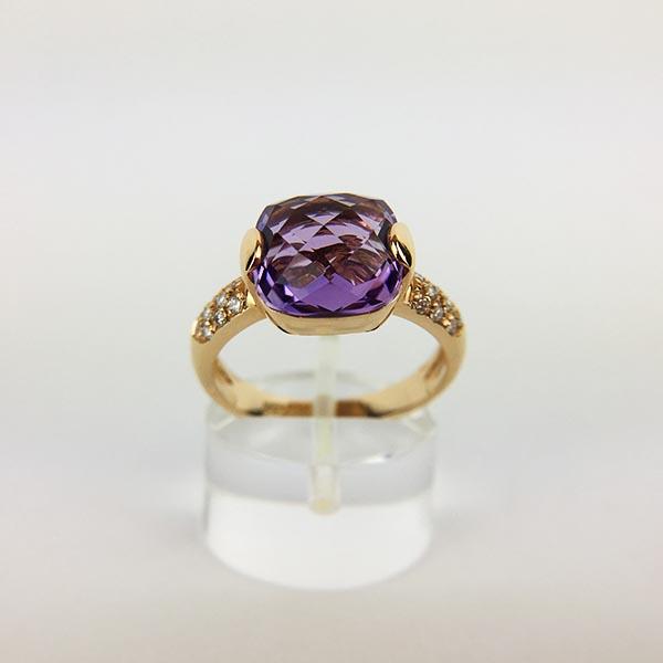 Anello Oro Rosa, Diamanti e Ametista