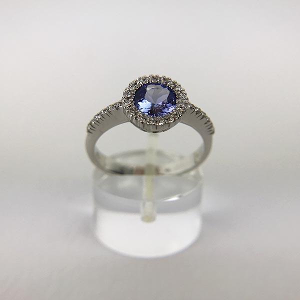 Anello Oro Bianco, Diamanti e Tanzanite