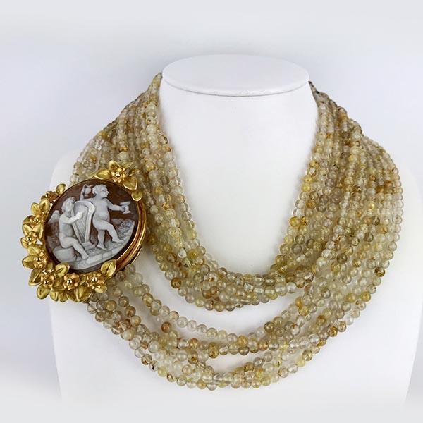Collana Oro Giallo, Oro Rosa e Quarzo