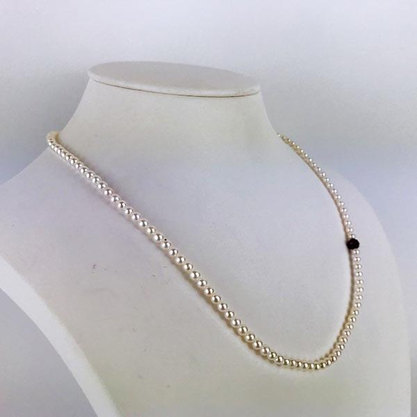 Girocollo Oro Bianco, Perle e Rubini