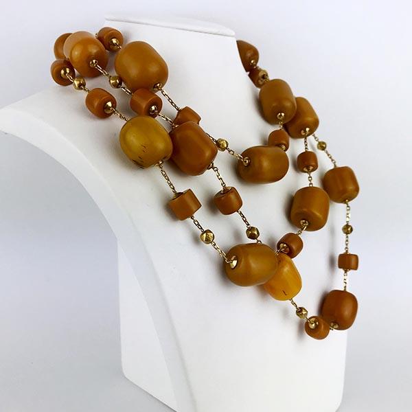 Collana Oro Giallo e Ambra