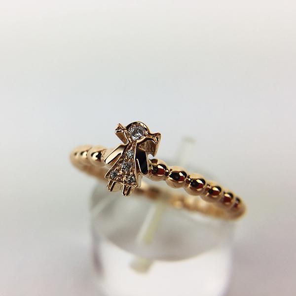 Anello Oro Bianco e Diamanti Bimba