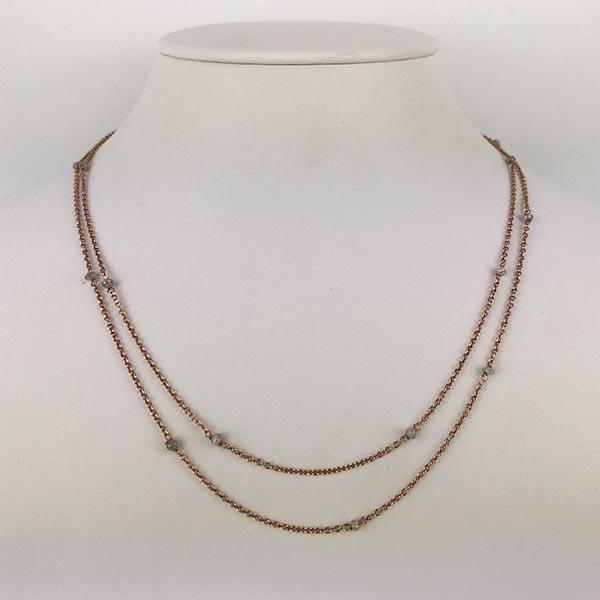 Collana Oro Rosa e Diamanti Grigi