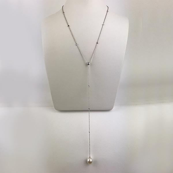 Collana Oro Bianco, Zirconia e Perla