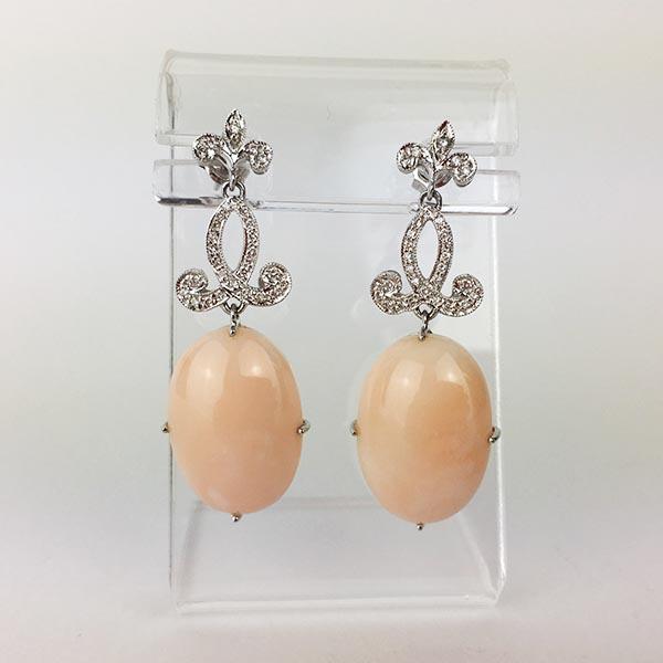 Orecchini Oro Bianco, Diamanti e Corallo