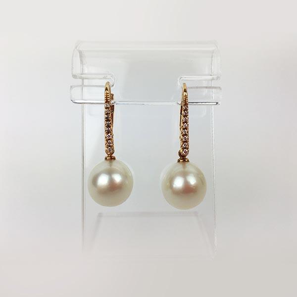 Orecchini Oro Rosa, Diamanti e perle