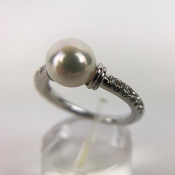 Anello Oro Bianco, Diamanti e Perla