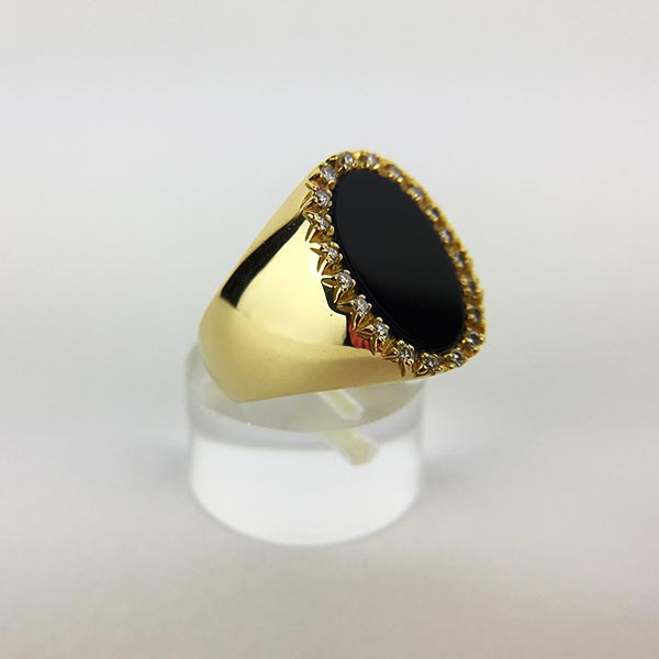 Anello Oro Giallo, Diamanti e Onice