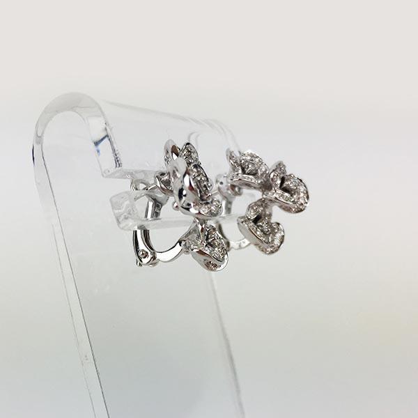 Orecchini Oro Bianco e Diamanti Fiori
