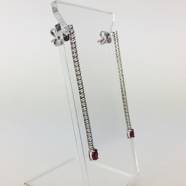 Orecchini Oro Bianco, Diamanti e Rubini