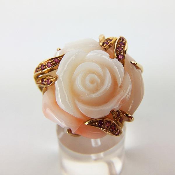 Anello Oro Rosa, Corallo e Rubini