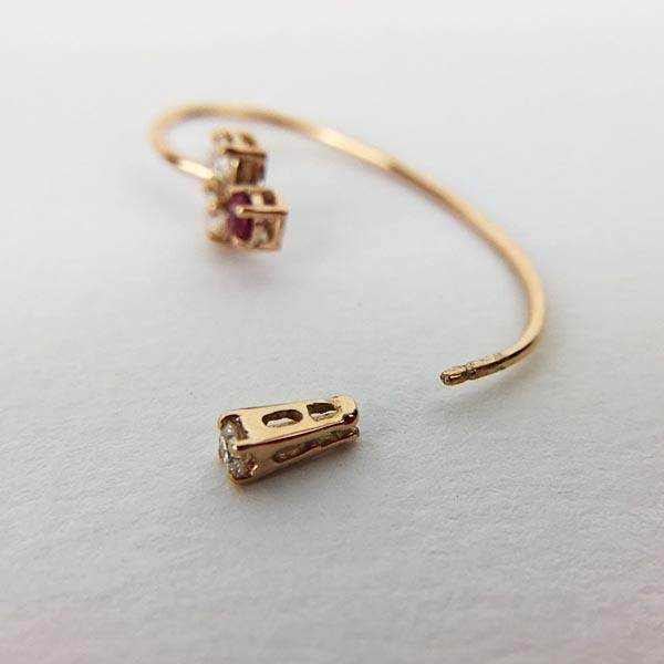 Orecchini Gio Marchiaro Oro Rosa, Diamanti e Rubini