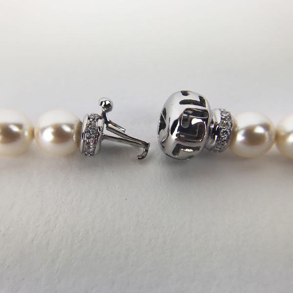 Chiusura per filo Perle Oro Bianco e Diamanti