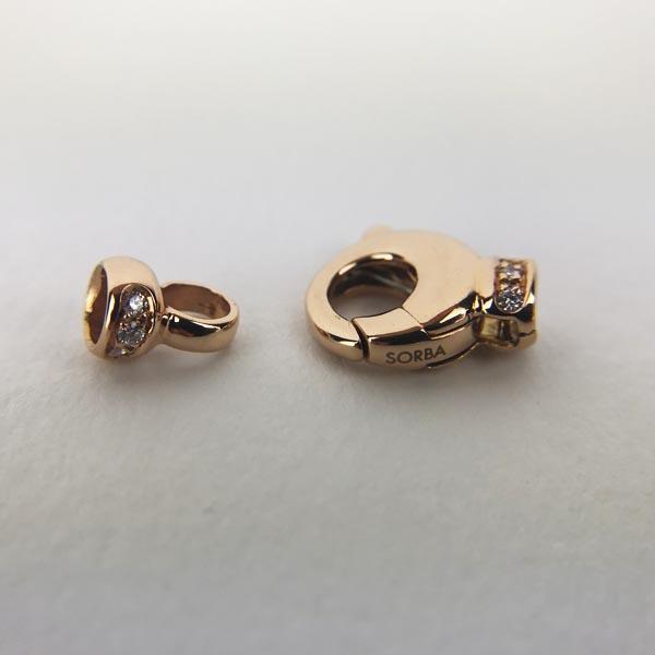 Chiusura per filo Perle Oro Rosa e Diamanti