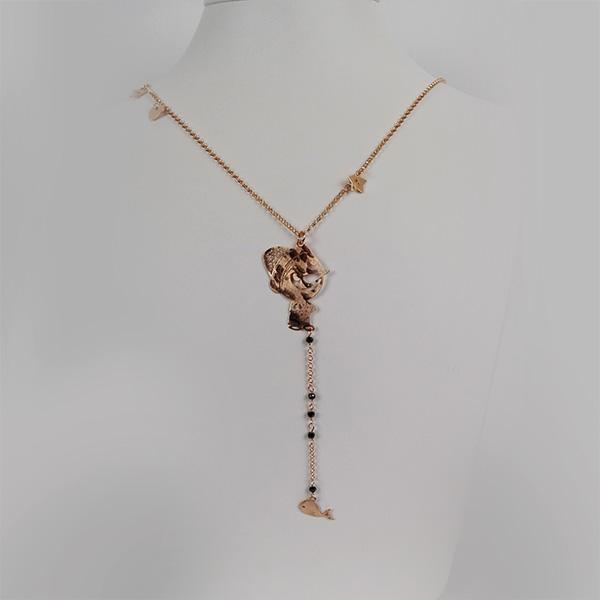 Collana Argento e Oro Rosa Pinocchio e Balena