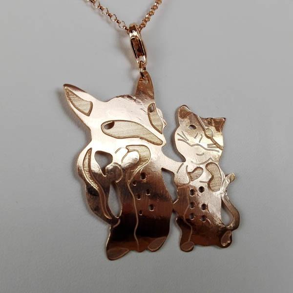 Ciondolo Argento e Oro Rosa Il Gatto e La Volpe